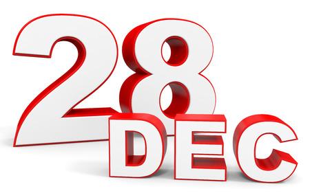 in december: December 28. 3d text on white background. Illustration.