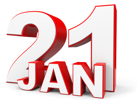 21: January 21. 3d text on white background. Illustration.