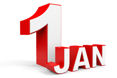 january 1: January 1. 3d text on white background. Illustration. Stock Photo