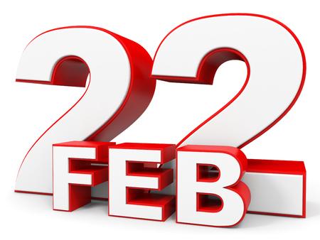 twenty second: February 22. 3d text on white background. Illustration. Stock Photo