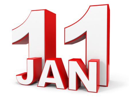 eleventh: January 11. 3d text on white background. Illustration. Stock Photo