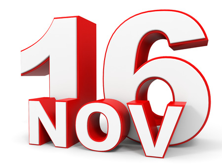 sixteenth note: November 16. 3d text on white background. Illustration. Stock Photo