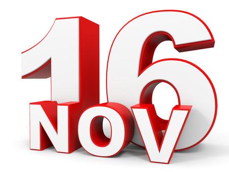 16: November 16. 3d text on white background. Illustration. Stock Photo