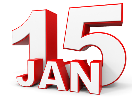 15: January 15. 3d text on white background. Illustration.