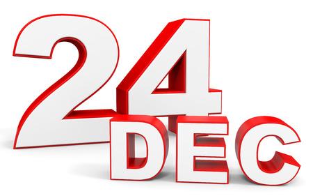 december: December 24. 3d text on white background. Illustration.