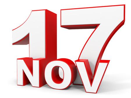 seventeenth: November 17. 3d text on white background. Illustration.