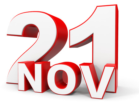 one on one meeting: November 21. 3d text on white background. Illustration. Stock Photo