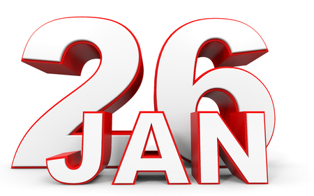 26: January 26. 3d text on white background. Illustration. Stock Photo