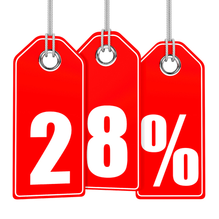 28: Discount 28 percent off. 3D illustration on white background. Stock Photo