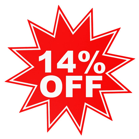 14: Discount 14 percent off. 3D illustration on white background.
