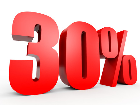 30: Discount 30 percent off. 3D illustration on white background.