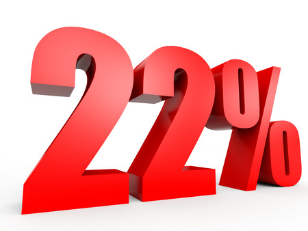 volume discount: Discount 22 percent off. 3D illustration on white background. Stock Photo