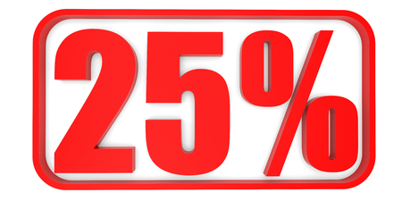 25: Discount 25 percent off. 3D illustration on white background. Stock Photo