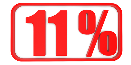 11 number: Discount 11 percent off. 3D illustration on white background.