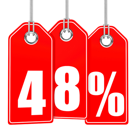 48: Discount 48 percent off. 3D illustration on white background.