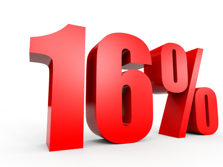 number 16: Discount 16 percent off. 3D illustration on white background. Stock Photo