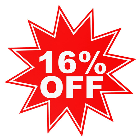 16: Discount 16 percent off. 3D illustration on white background. Stock Photo