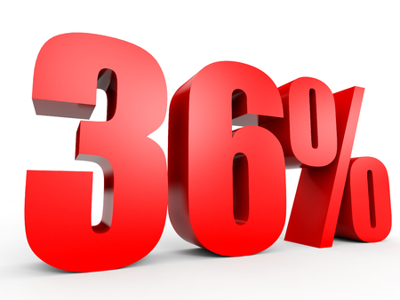 36: Discount 36 percent off. 3D illustration on white background.