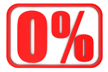 nil: Discount 0 percent off. 3D illustration on white background.