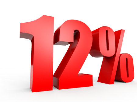 Discount 12 percent off. 3D illustration on white background.