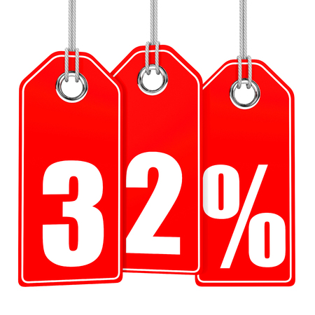 32: Discount 32 percent off. 3D illustration on white background.