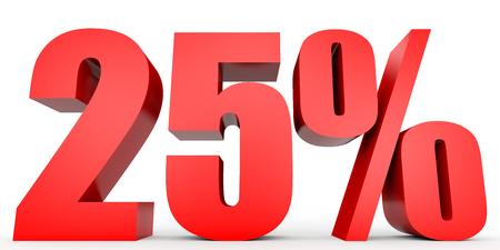 Discount 25 percent off. 3D illustration on white background. Standard-Bild