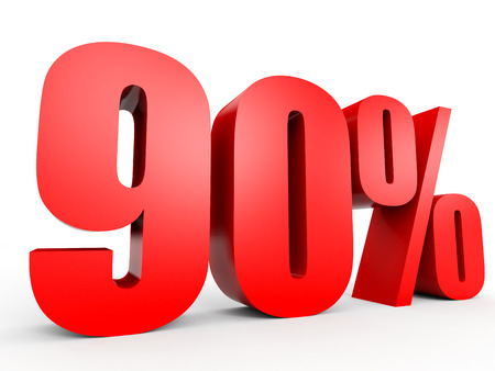 90: Discount 90 percent off. 3D illustration on white background.
