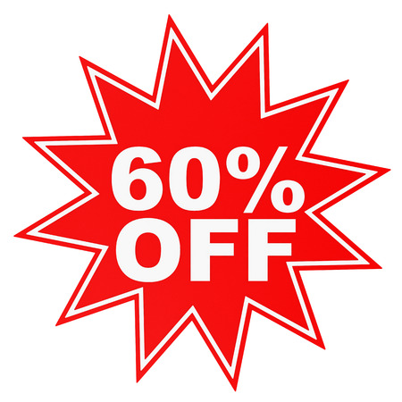 60: Discount 60 percent off. 3D illustration on white background.
