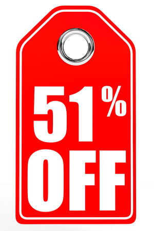 51: Discount 51 percent off. 3D illustration on white background. Stock Photo