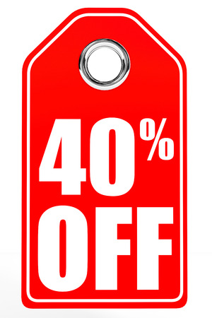 off white: Discount 40 percent off. 3D illustration on white background. Stock Photo