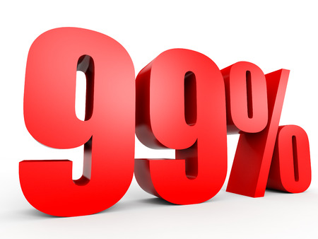 Discount 99 percent off. 3D illustration on white background. Stock Photo