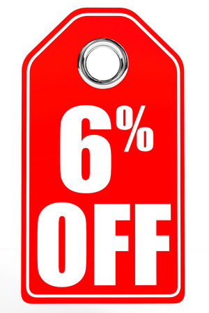 off white: Discount 6 percent off. 3D illustration on white background.