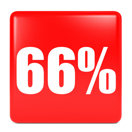 66: Discount 66 percent off. 3D illustration on white background. Stock Photo