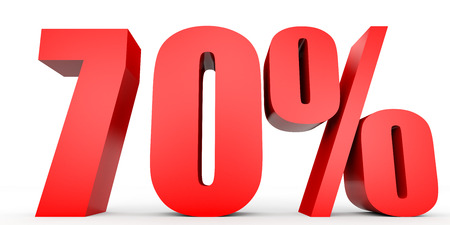 70: Discount 70 percent off. 3D illustration on white background.