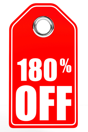 one hundred: Discount 180 percent off. 3D illustration on white background.
