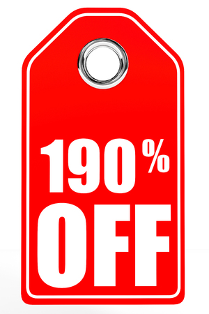 one hundred: Discount 190 percent off. 3D illustration on white background. Stock Photo