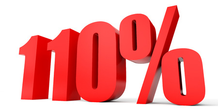 one hundred and ten: Discount 110 percent off. 3D illustration on white background. Stock Photo