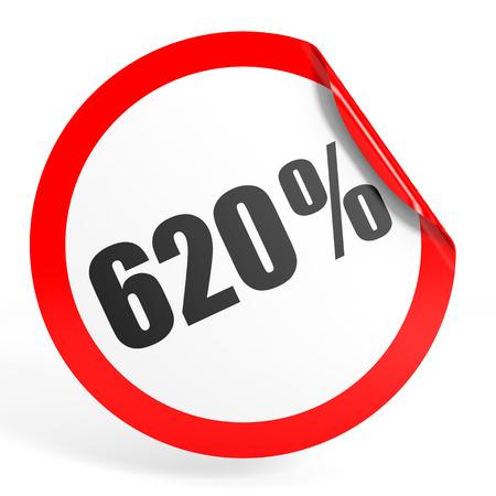 twenty six: Discount 620 percent off. 3D illustration on white background.