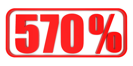 seventy: Discount 570 percent off. 3D illustration on white background. Stock Photo