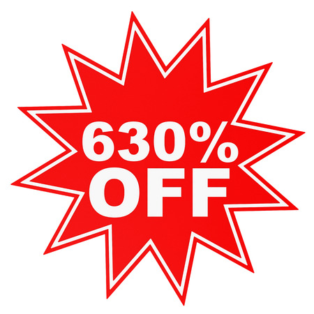 thirty percent off: Discount 630 percent off. 3D illustration on white background. Stock Photo