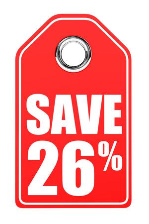 twenty six: Discount 26 percent off. 3D illustration on white background.
