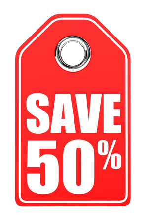 stock price losses: Discount 50 percent off. 3D illustration on white background.
