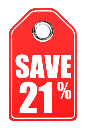 21: Discount 21 percent off. 3D illustration on white background.