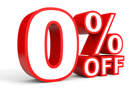 nil: Zero percent. 3D illustration on white background.