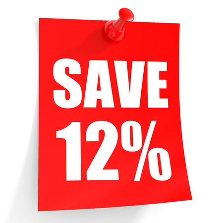 12: Discount 12 percent off. 3D illustration on white background.