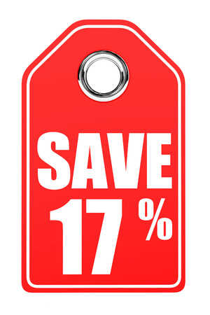 17: Discount 17 percent off. 3D illustration on white background.