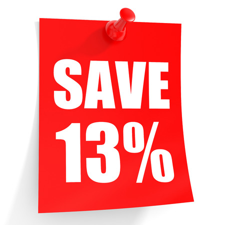 number 13: Discount 13 percent off. 3D illustration on white background.
