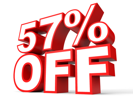 57: Discount 57 percent off. 3D illustration on white background.