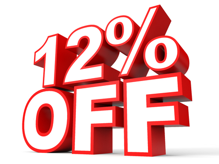 a 12: Discount 12 percent off. 3D illustration on white background.
