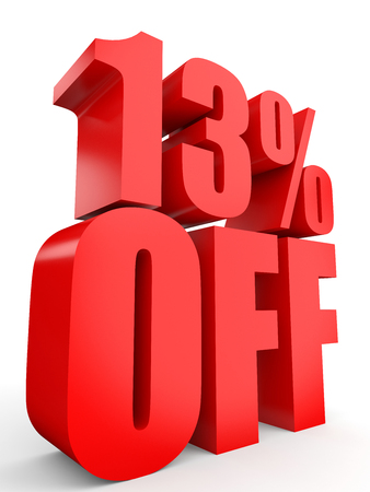 13: Discount 13 percent off. 3D illustration on white background.